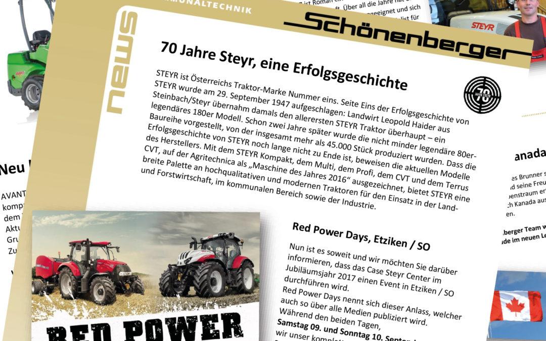 Schönenberger News vom September 2017